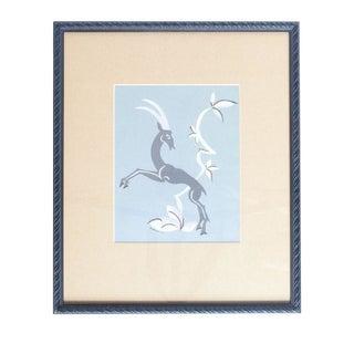 Gouache On Paper Art Deco Gazelle