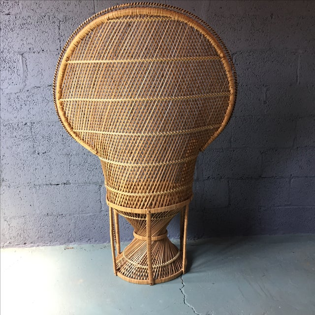 Image of Vintage Rattan Fan Peacock Chairs - A Pair