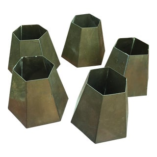 Hexagonal Brass Candle or Lamp Shades - Set of 5