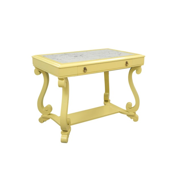 Neoclassical Style Yellow Marble Top Hall Table - Image 2 of 10
