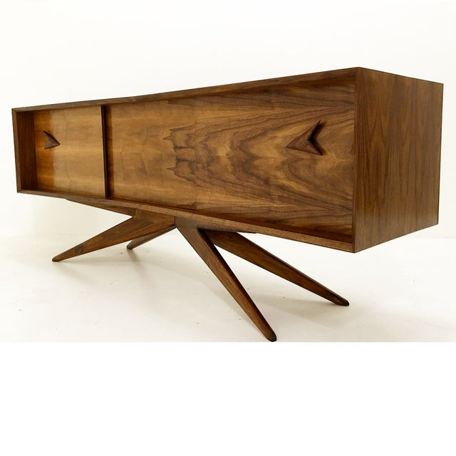 Image of Walnut Credenza With Hand Carved Handles