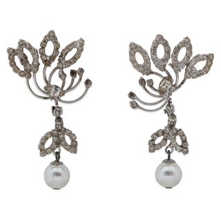 Vendome Rhinestone Faux-Pearl Earrings