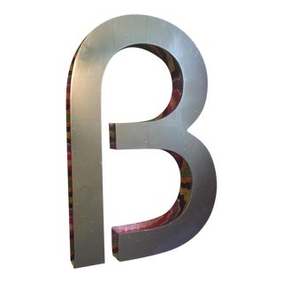 "Vintage MCM Dimensional Chrome Sign Letter ""B"""