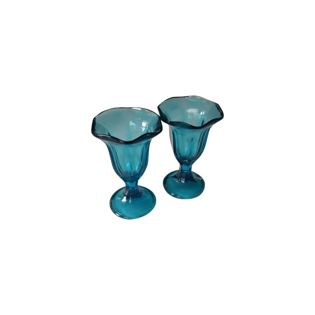 Image of Vintage Teal Blue Glass Sundae Glasse - Pair