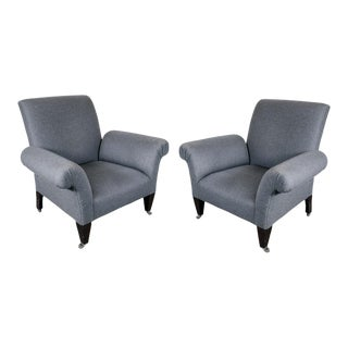 Pair of Modernist Arm Chairs with Scroll Arms in Grey Flannel Upholstery