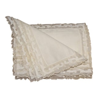 Vintage Fine Cream Cotton Cocktail Napkins - Set of 8