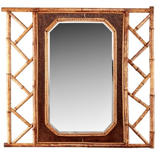 Vintage Wall Mirror With Bamboo and Leather Frame
