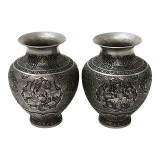 Persian Engraved Qalam Zani Vase - A Pair