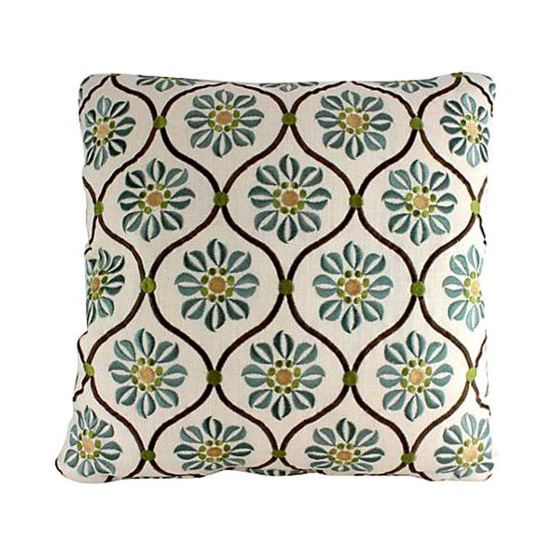 Silk & Linen Embroidered Lattice Pillow - Image 1 of 4
