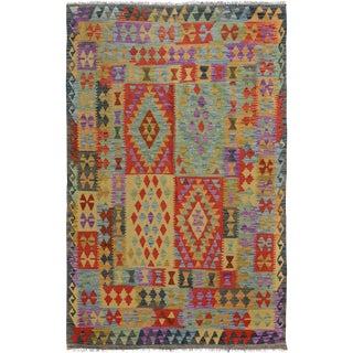 Arya Vance Gray/Red Wool Kilim Rug - 4'10 X 6'7