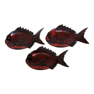 Japanese Lacquered Fish Plates - Set of 3