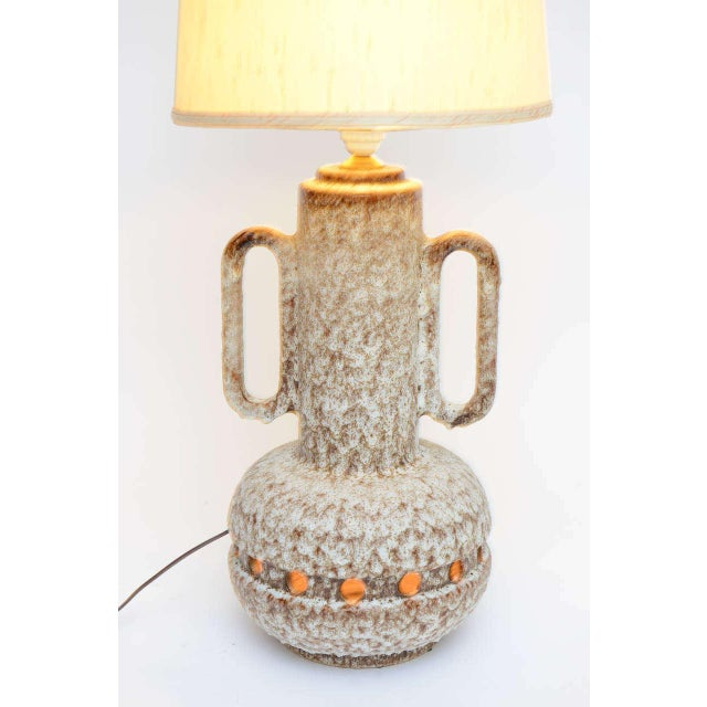 Monumental Mid Century German Lava Glaze Pottery Table Floor Lamp - Image 9 of 10
