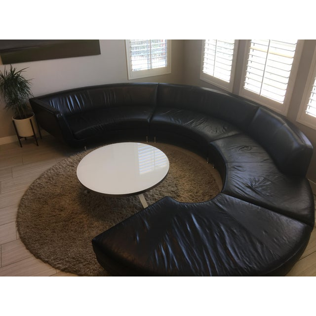 American Leather Black Leather Sectional - Image 4 of 11