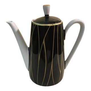 Mid-Century Modern Black & Gold Coffee Pot