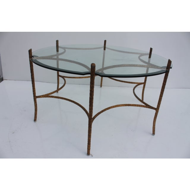 Image of Italian Solid Brass Faux-Bois Base Coffee Table
