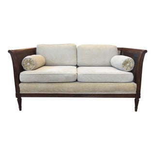 Wood & Wicker Ivory Settee