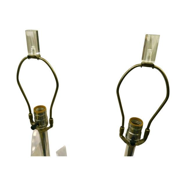 Lucite Skyscraper Lamps - A Pair - Image 3 of 7