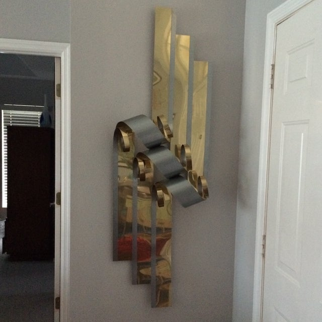 Mid-Century Two Tone Metal Ribbon Sculpture - Image 7 of 9