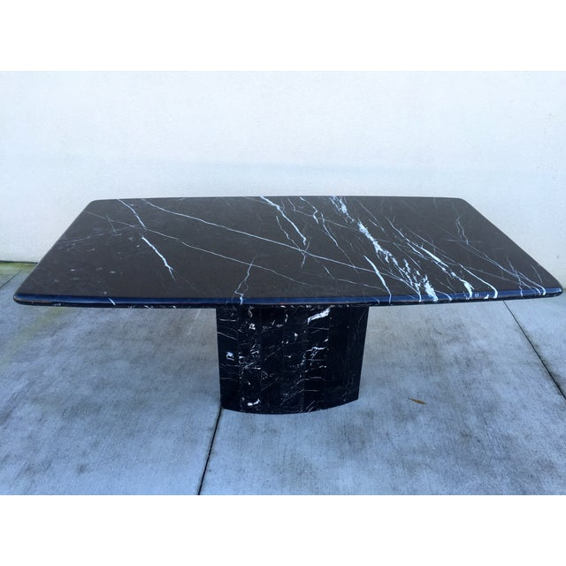 Image of Black Modern Italian Marble Dining Table