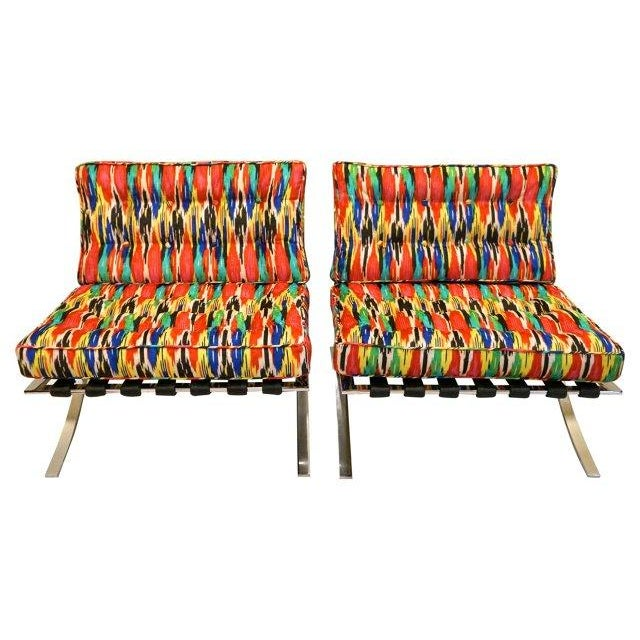 Ikat Barcelona Style Chrome Chairs - A Pair - Image 2 of 7