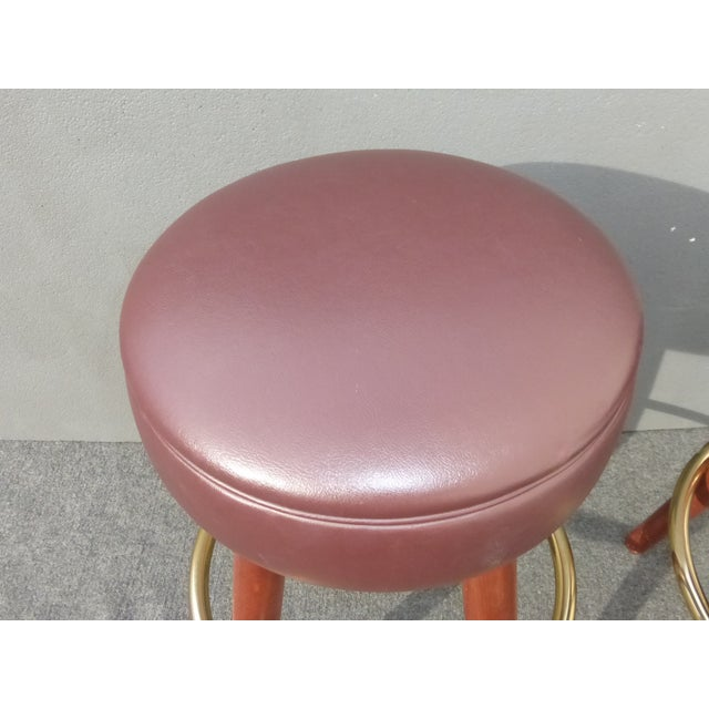 Mid-Century Modern Brown Vinyl Bar Stools - A Pair - Image 7 of 11