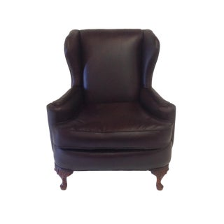 Antique Brown Leather Wing Chair