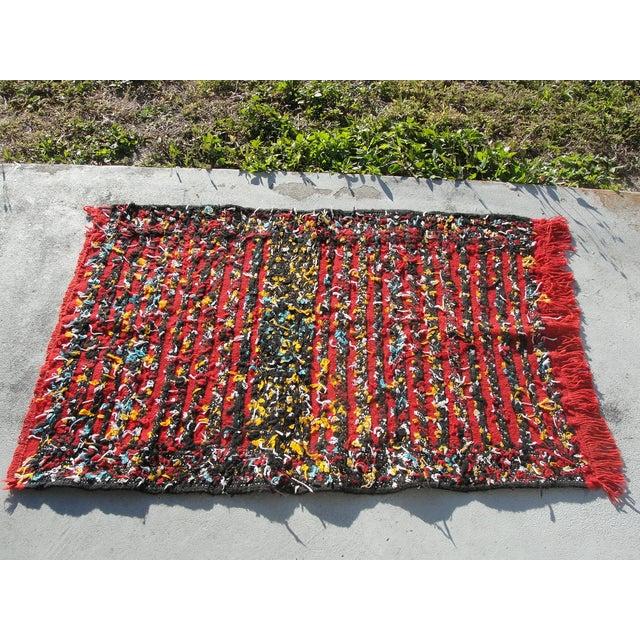 "Maroc Tribal Rug: Red Moroccan Tribal Kilim Rug - 2'7"" X 4'"