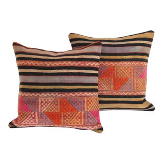 Striped Turkish Kilim Pillows - A Pair