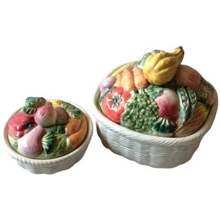Fitz & Floyd Vegetable Basket Casseroles - A Pair