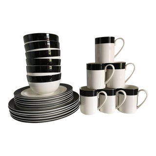 Martha Stewart White With Simple Black Rim Dinnerware Set - 32 Pieces