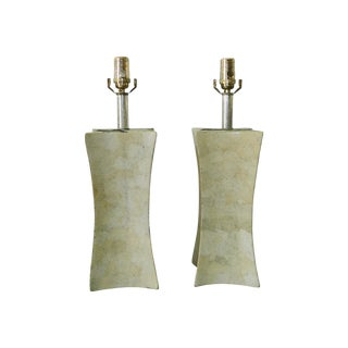 Cream Plaster Diamond Shape Lamps- A Pair