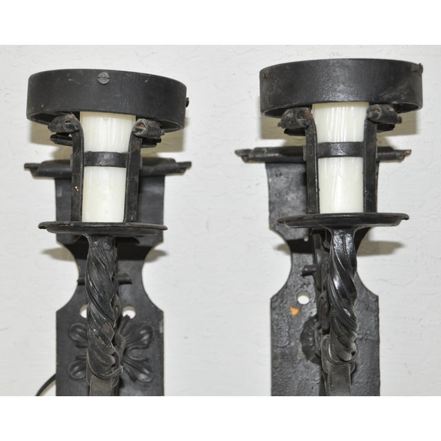 Antique Wrought Iron Wall Sconces - Pair - Image 4 of 8