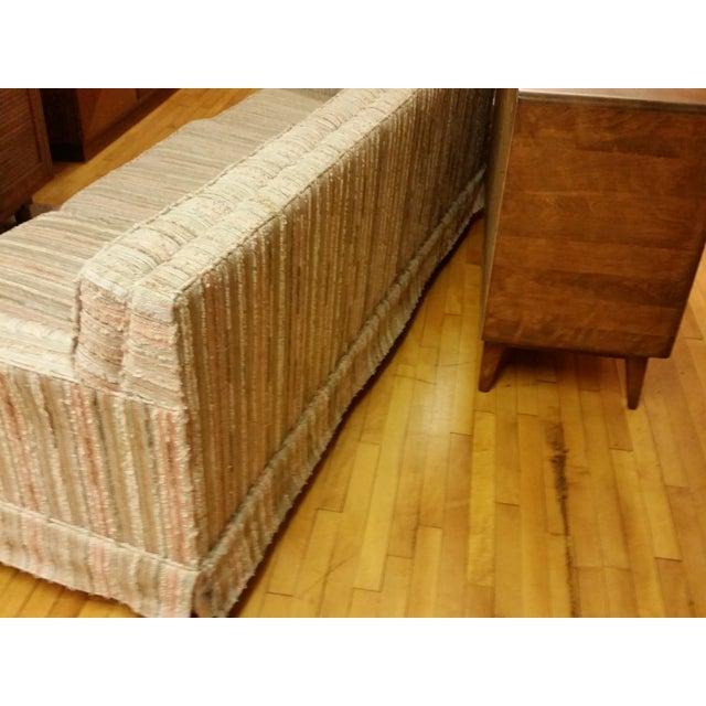 Image of Mid-Century Pastel Stripes Tufted Sofa