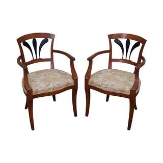 Italian Biedermeier Style Arm Chairs - Pair