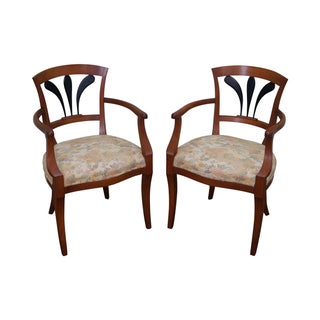 Italian Biedermeier Style Arm Chairs - Pair