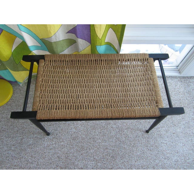 Vintage Mid-Century Modern Woven Rope Ebony Stained Wooden Bench - Image 2 of 7