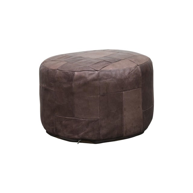 Brown Leather De Sede Style Patchwork Ottoman - Image 1 of 7