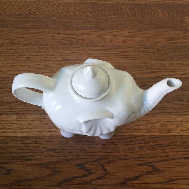 White Ceramic Elephant Teapot - Image 3 of 6