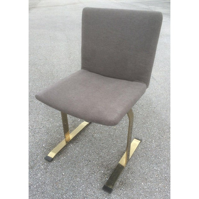 Saporiti Brass & Gray Chairs - Set of 4 - Image 3 of 6