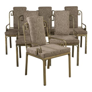 A Set of Six Mastercraft Brass-Framed Dining Chairs, 1970s