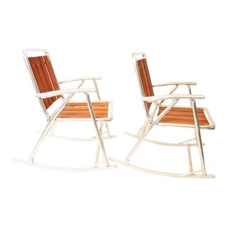 Vintage Redwood & Aluminum Folding Rocking Chairs - A Pair