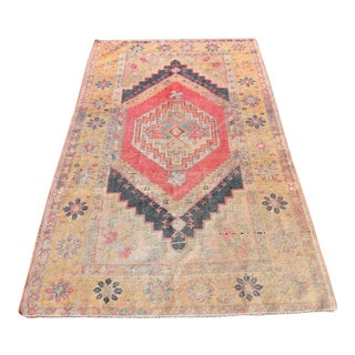 Vintage Muted Turkish Handwoven Beige Area Carpet - 3′8″ × 6′2″