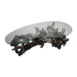 70s Driftwood Coffee Table Kidney Shaped Glass Top