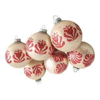 Vintage Shiny-Brite Glitter Flock Ornaments - Set of 6