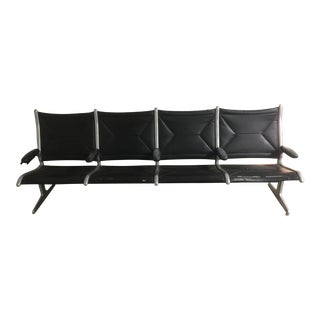 Herman Miller Black Slingback Airport 4-Seat Bench
