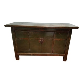 Antique Chinese Green/Brown Lacquer Sideboard
