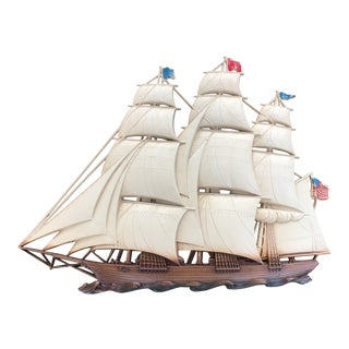 Syroco Mid-Century Clipper Sailing Ship Wall Hanging