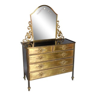 Black Glass and Gold Spanish Chest