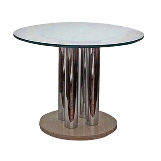 Vintage Paul Moyen Chrome, Glass & Travertine Table