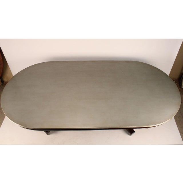 Transitional Silver Painted Dining Table - Image 3 of 3
